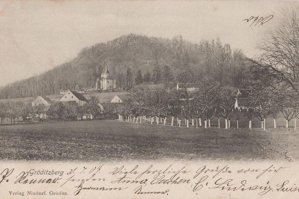 zamek grodziec na starej pocztówce